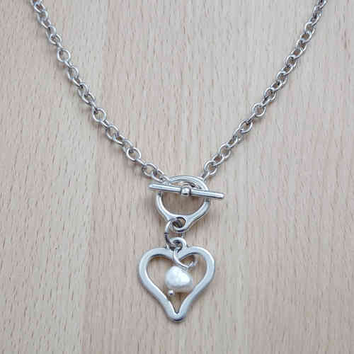 Silver Heart Necklace with Pearl