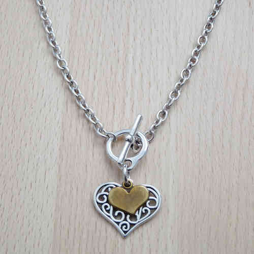 Silver Filigree and Bronze Heart Necklace