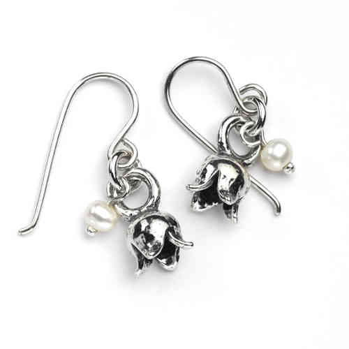 Silver Hook Earrings with Silver Tulip Flowers and Pearl